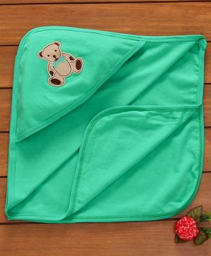 Simply Hooded Baby Towel Teddy Patch - Green