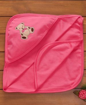 Simply Hooded Towel & Wrapper Teddy Patch - Pink