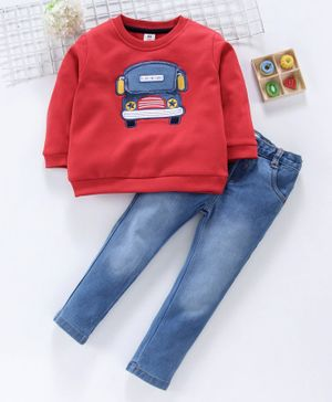 ToffyHouse Full Sleeves Tee & Adjustable Elastic Waist Jeans Bus Embroidery - Red Blue