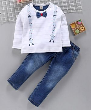 ToffyHouse Full Sleeves Tee With Jeans with Bow Motif - White Blue