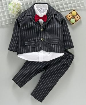 ToffyHouse Full Sleeves 4 Pieces Striped Party Suit - Black