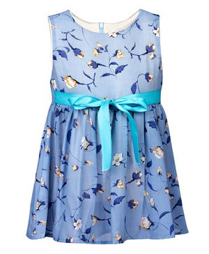 Pikaboo Sleeveless Floral Printed Dress - Light Blue