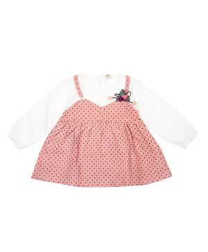 Pikaboo Full Sleeves Polka Dot Print Dress - Pink