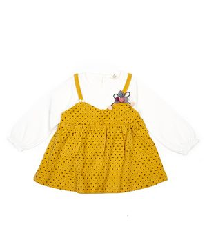 Pikaboo Full Sleeves Polka Dot Print Dress - Yellow