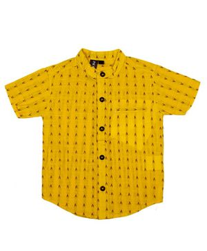 Pikaboo Half Sleeves Embroidered Shirt - Yellow