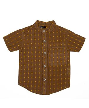 Pikaboo Half Sleeves Embroidered Shirt - Brown