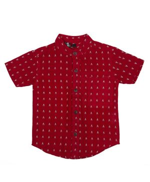 Pikaboo Half Sleeves Embroidered Shirt - Red