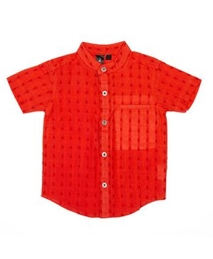 Pikaboo Half Sleeves Embroidered Shirt - Orange
