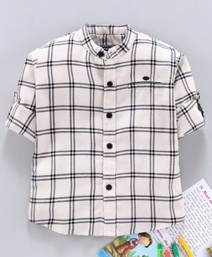 Jash Kids Full Sleeves Checked Shirt - White