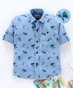Jash Kids Full Sleeves Shirt Floral Print - Blue