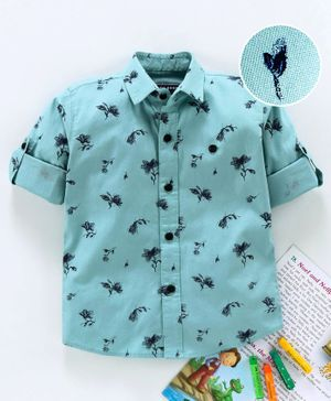 Jash Kids Full Sleeves Shirt Floral Print - Sea Green