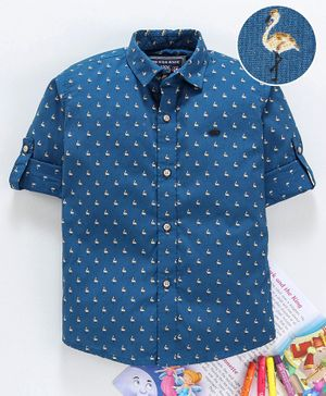 Jash Kids Full Sleeves Shirt Flamingo Print - Blue