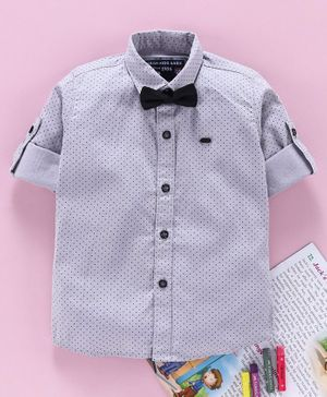 Jash Kids Full Sleeves Cotton Dotted Party Wear Shirt With Bow - Light Grey