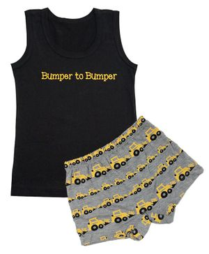 Plan B Bumper To Bumper Print Sleeveless Vest & Boxer Set - Black & Grey