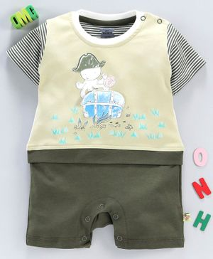 Mini Taurus Half Sleeves Stripe Romper Prince Charming Print - Green