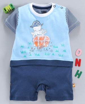 Mini Taurus Half Sleeves Stripe Romper Prince Charming Print - Blue