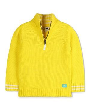Cherry Crumble California Full Sleeves Half Zip High Neck Sweater - Yellow