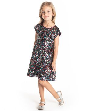 Cherry Crumble California Short Sleeves Sequined Dress - Multi Color