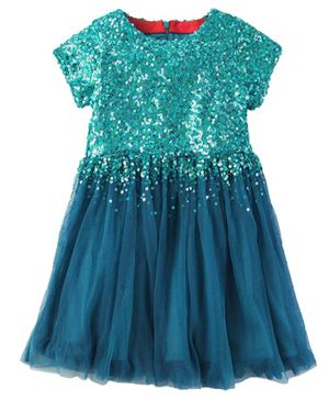 Cherry Crumble California Falling Sequins Short Sleeves Dress - Sea Green
