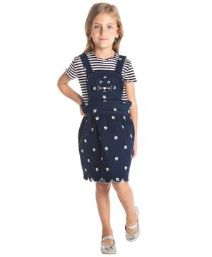Cherry Crumble California Flower Print Sleeveless Dress - Navy Blue