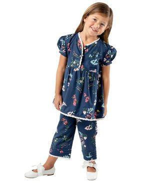 Cherry Crumble California Flower Print Half Sleeves Night Suit - Navy Blue
