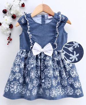 Babyhug Short Sleeves Chambray Printed Frock with Bow - Blue
