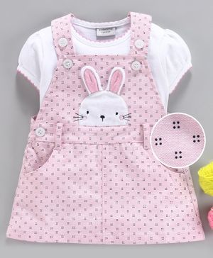 Wonderchild Short Sleeves T-Shirt With Bunny Patch Dungaree Dress - White & Pink