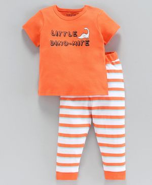 Babyoye Half Sleeves Tee and Bottom Set Dinosaur Print - Orange White