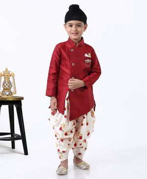Dapper Dudes Full Sleeves Kurta With Floral Print Dhoti - Maroon