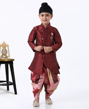 Dapper Dudes Full Sleeves Kurta With Printed Dhoti - Maroon