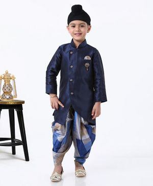 Dapper Dudes Full Sleeves Kurta With Printed Dhoti - Navy Blue