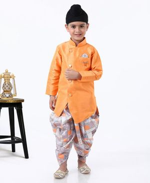 Dapper Dudes Full Sleeves Kurta With Printed Dhoti - Orange