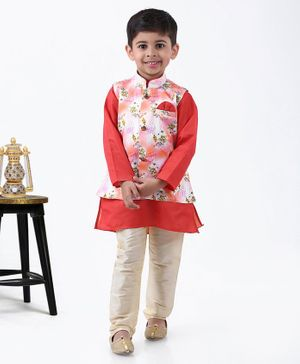Dapper Dudes Full Sleeves Kurta With Flower Printed Waistcoat & Pajama - Peach