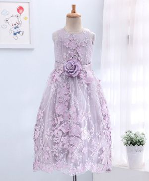 Enfance Sleeveless All Over Flower Applique Gown - Purple