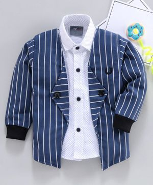 Dapper Dudes Polka Dot Printed Full Sleeves Shirt With Striped Jacket - Dark Blue