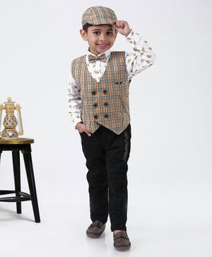 Dapper Dudes Flower Printed Full Sleeves Shirt With Checkered Waistcoat & Pants With Bow Tie & Cap - Beige