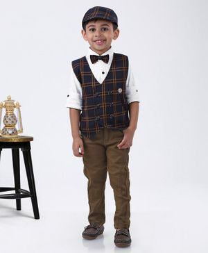 Dapper Dudes Printed Full Sleeves Shirt With Checkered Waistcoat & Pants With Bow Tie & Cap - Navy Blue