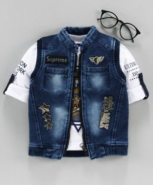 Dapper Dudes Star Patch Denim Jacket With Full Sleeves T-Shirt - Blue