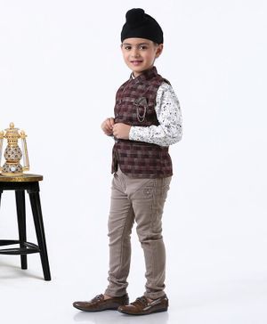 Dapper Dudes Printed Full Sleeves Shirt With Waistcoat & Pants - Brown