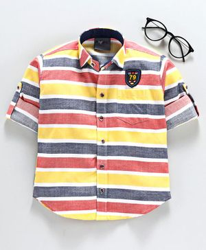 Dapper Dudes Striped Full Sleeves Shirt - Yellow
