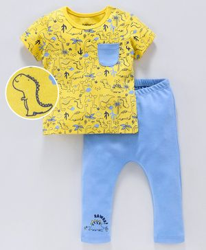Babyoye Half Sleeves Tee and Bottom Set Dinosaur Print - Yellow Blue