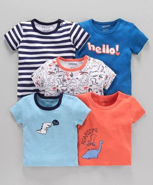 Babyoye Cotton Half Sleeves Tees Dino Print Pack of 5  - Multicolour