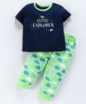 Babyoye Half Sleeves Cotton Tee & Bottom Set Text Print - Green Navy