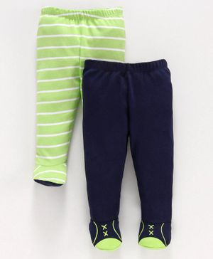 Babyoye Cotton Solid & Striped Bootie Leggings Pack of 2 - Green Blue