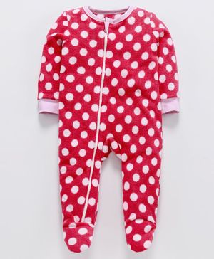 Nino Bambino Full Sleeves Polka Dot Print Footed Romper - Dark Pink