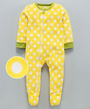 Nino Bambino Full Sleeves Polka Dot Print Footed Romper  - Yellow