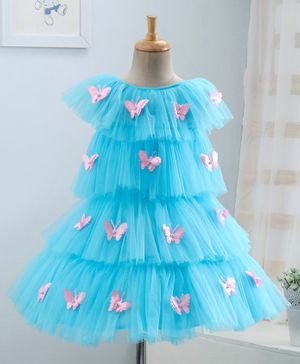 Enfance Butterfly Applique Short Sleeves Layered Dress - Light Blue