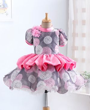 Enfance Puffed Short Sleeves Flower Printed Dress - Pink