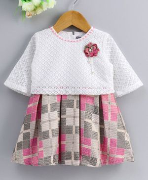 Enfance Checkered Flower Applique Half Sleeves Dress - White