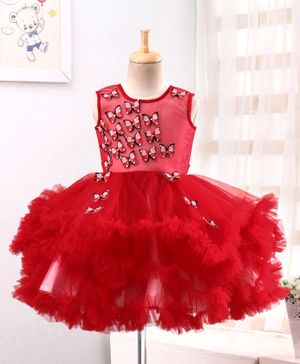 Enfance Butterfly Applique Sleeveless Tutu Flared Dress - Red